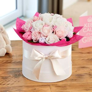 Large Baby Clothes Bouquet Baby Girl in a Luxury Keepsake Hatbox