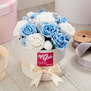 Baby Clothes Bouquet Blue Posy in Luxury Keepsake Hatbox