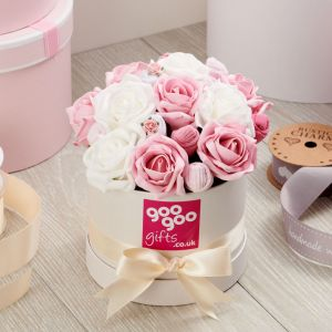 Baby Clothes Bouquet Pink  Posy in Luxury Keepsake Hatbox