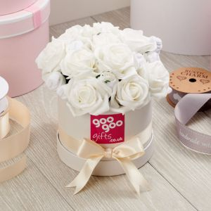 Baby Clothes Bouquet Classic White Posy in Luxury Keepsake Hatbox