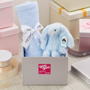 Welcome Baby Luxury Bunny and Blanket Gift Box in Blue