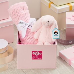 Welcome Baby Luxury Bunny and Blanket Gift Box in Pink