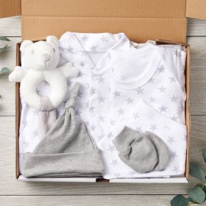 Silver Star 6 Piece Designer Baby Clothes Set and Plush Bear Rattle New Arrival Package