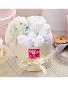 Welcome Baby Luxury 7 Piece Gift Box Set in a Keepsake Hatbox in Classic White