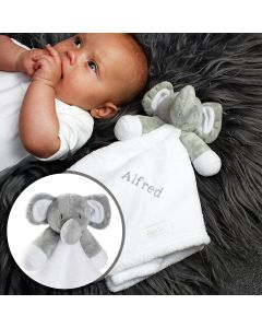 Personalised Plush Grey Elephant and Comforter for Baby