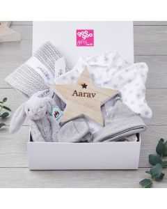 Luxury Silver Star Personalised 7 Piece New Arrival Gift Set with Wooden Name Star