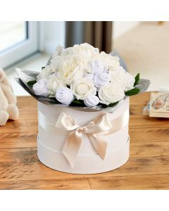 Large Baby Clothes Bouquet Classic White in a Luxury Keepsake Hatbox
